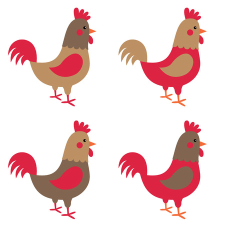 Isolated roosters set Illustration