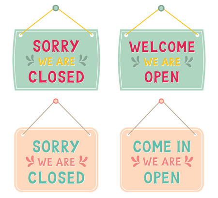 Closed and open isolated signs, text in hand lettered font