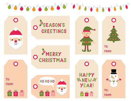 Christmas and New Year gift tags set
