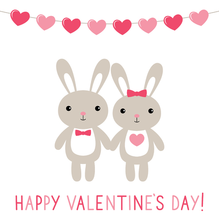 Valentine card with cute bunnies Illustration