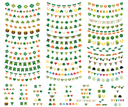 St. Patrick's Day vector bunting and garland set. Used pattern brushes incuded