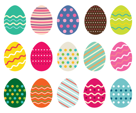 Easter eggs set, isolated on white