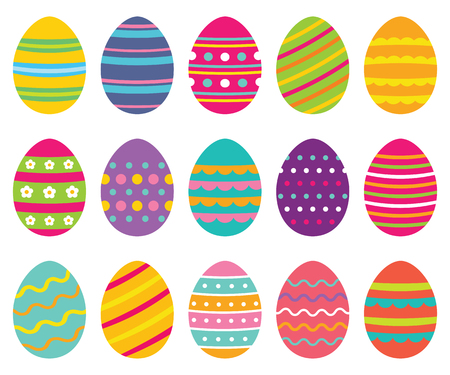 Colorful isolated Easter eggs Illustration