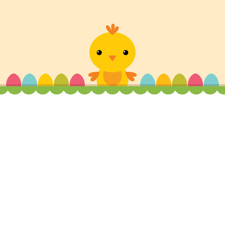 Easter background with a chick, blank space for text