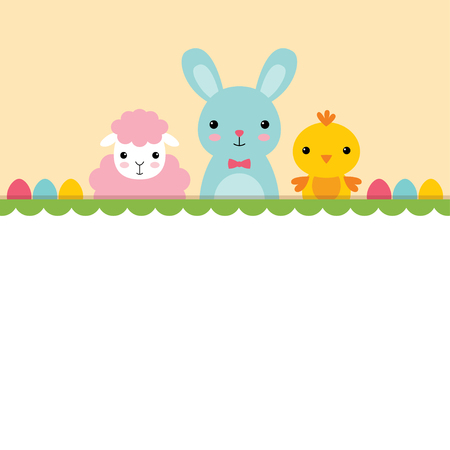 A chick, a bunny and a sheep, Easter card Illustration