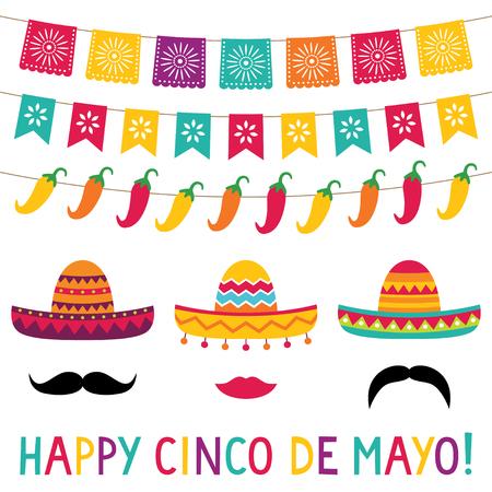 Banderas y sombreros del Cinco de Mayo Ilustración de vector