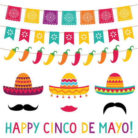 Cinco de Mayo banners and sombreros set Illusztráció