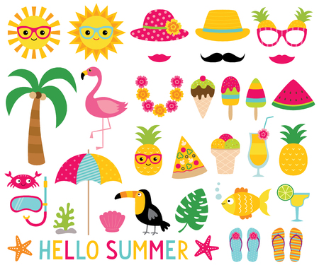 Summer design elements and photo booth props Stock Vector - 77252496