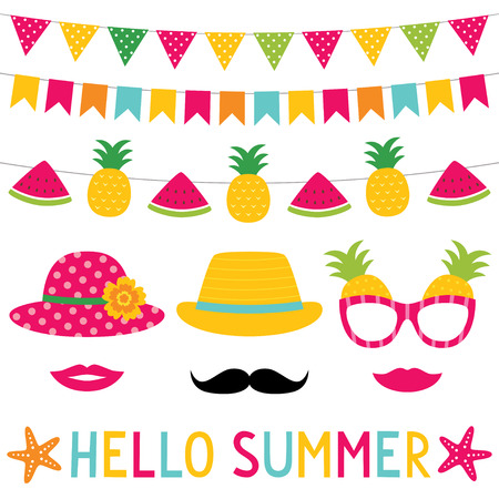 Summer decoration and photo booth props set