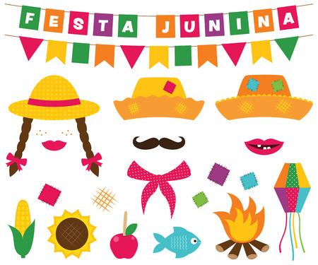Festa Junina (브라질 6 월 파티) 배너 및 사진 부스 소품 일러스트