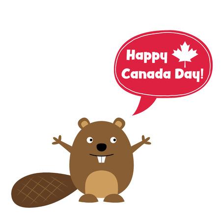 Tarjeta feliz del día de Canadá con un castor lindo