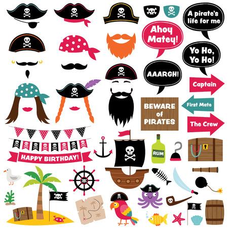 Decoración de la historieta del partido del pirata y apoyos de la cabina de la foto Foto de archivo - 80204742