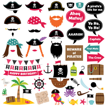 Pirate party cartoon decoration and photo booth props Illustration