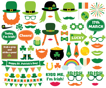 17: St. Patricks Day design elements and photo booth props Illustration