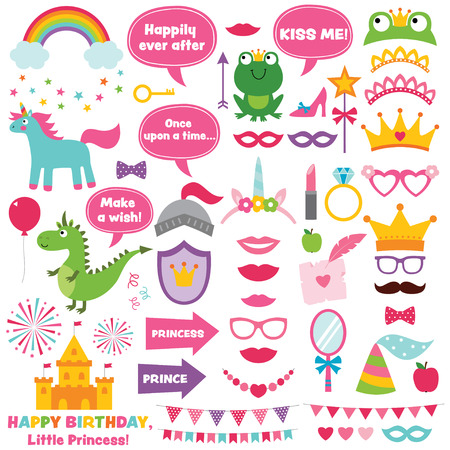 Princess party photo booth props set