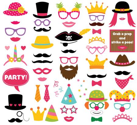 Fun party hats, vector picture booth props Ilustração