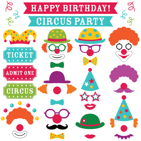 Circus clown party photo booth props (hats, noses, glasses)