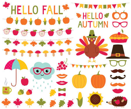 Fall design elements and photo booth props set.