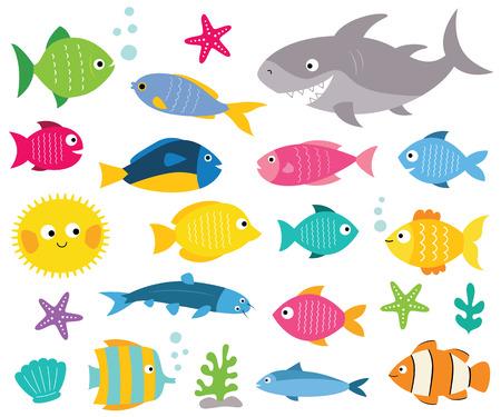 Cartoon vissen set, geïsoleerde ontwerpelementen