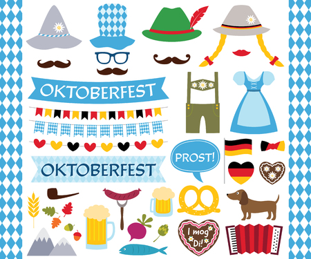 Oktoberfest design elements and photo booth props Illustration
