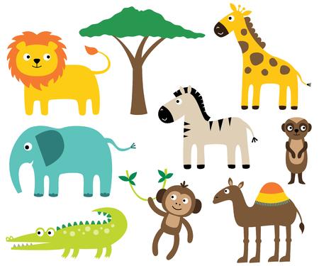 Ensemble d'animaux africains