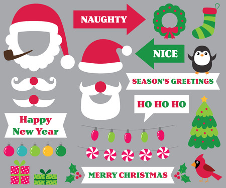 Christmas party photo booth props (Santa hats and beards, naughty and nice signs, decoration) Иллюстрация
