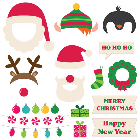 costume ball: Christmas Santa, elf, deer and penguin photo booth props