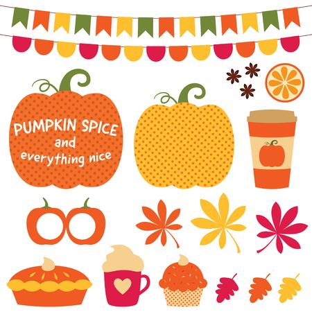 Pumpkin spice and everything nice clip art set Stock Illustratie