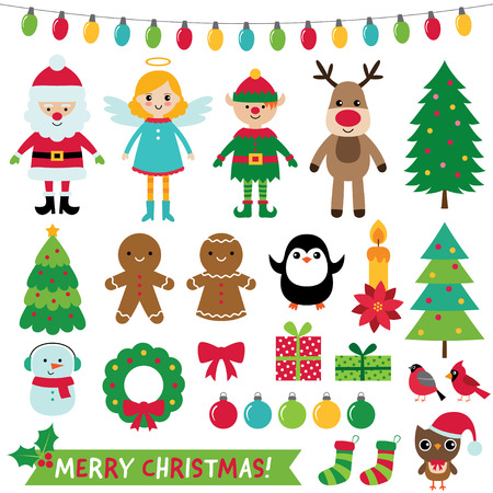 Christmas decoration and characters set, vector illustration.
