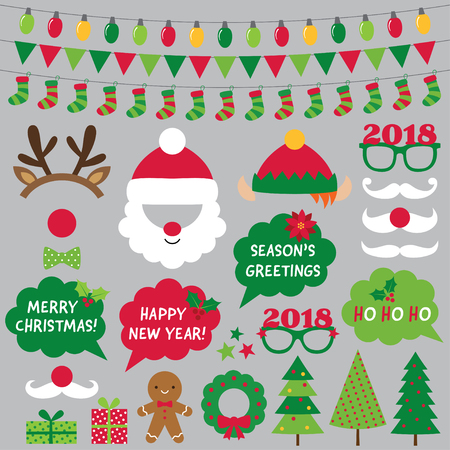 Christmas and new year photo booth props and decoration