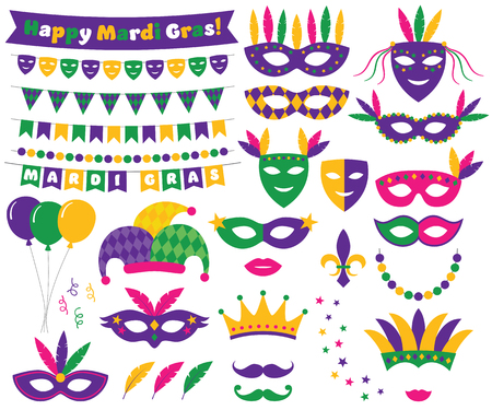 Mardi Gras vector decoration and design elements set