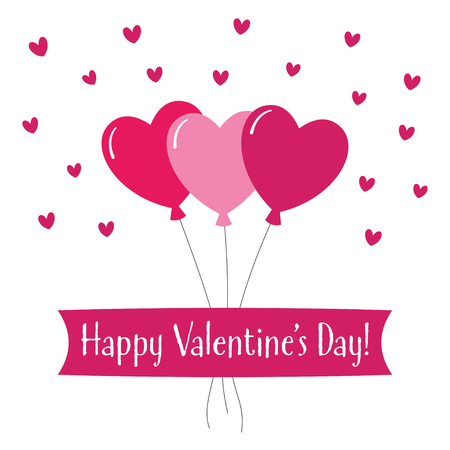 Valentines Day greeting card design with balloons in heart shape