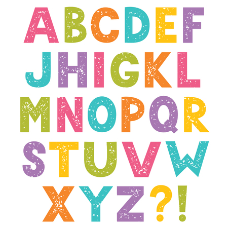Cartoon alphabet, letters with stamped texture