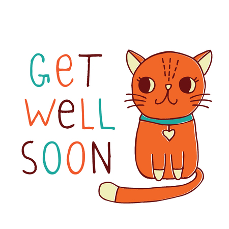 Get Well Soon, a vector card with a hand drawn red cat Illustration