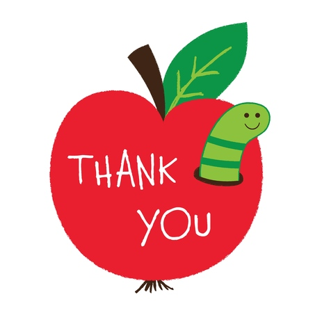 Thank you Teachers Day card with an apple and a worm isolated on a white background Illustration