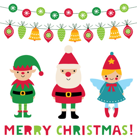 Christmas vector greeting card with Santa, elf and angel