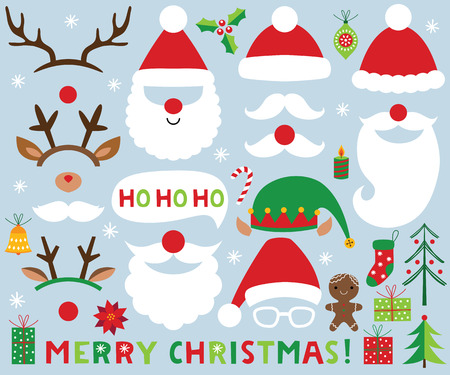 Christmas set (Santa Claus and deer photo booth props and decoration) 向量圖像