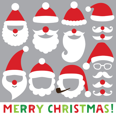 Santa hats, beards and mustaches, Christmas photo booth props Illustration