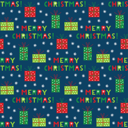 Christmas seamless pattern with lettering and gift boxes  イラスト・ベクター素材