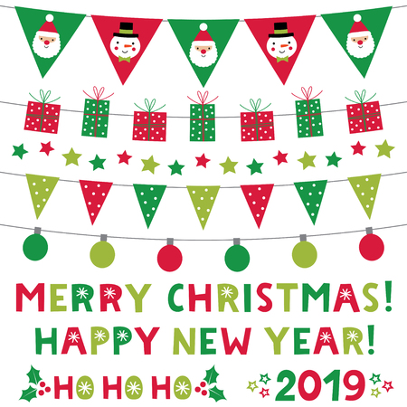 Christmas and New Year vector lettering and decoration set Vector Illustration
