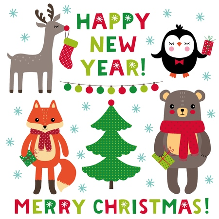 Christmas cartoon set, animals holding gift boxes and lettering