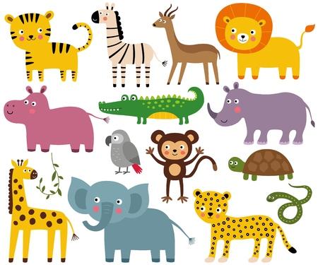African jungle animals set (elephant, lion, crocodile, monkey and more)