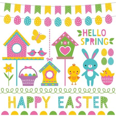Ensemble d'éléments de conception de printemps et de Pâques