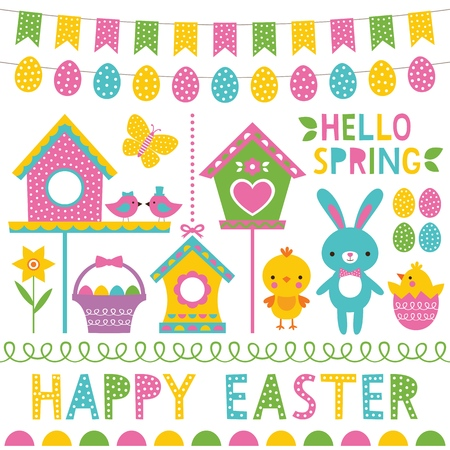 Spring and Easter design elements set