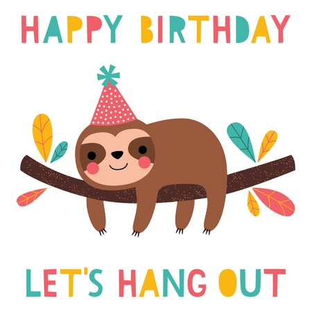 Birthday vector card with a cute sloth