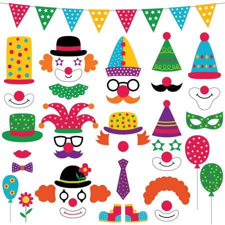 Circus party clown photo booth props, isolated elements set Vector Illustration