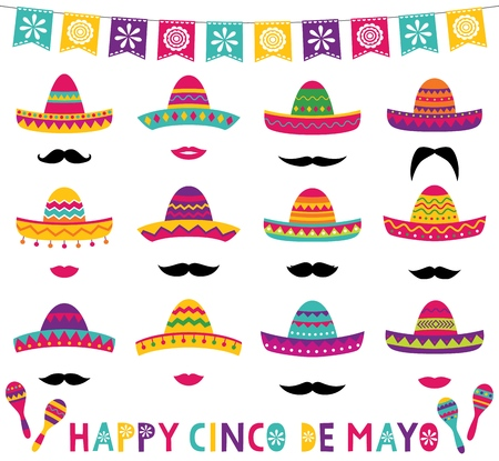 Colorful Mexican sombreros, maracas and decoration set Vector Illustration