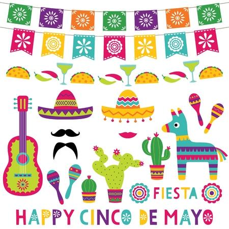 Colorful Cinco de Mayo set Vector Illustration