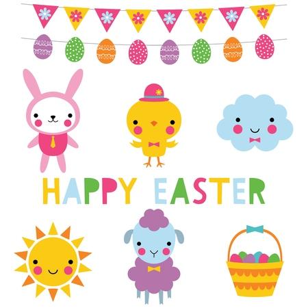 Conjunto de iconos de Pascua Ilustración de vector