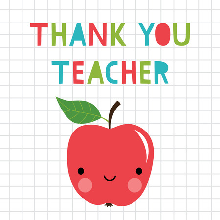 Thank you Teacher card with an apple Stock Vector - 124055936